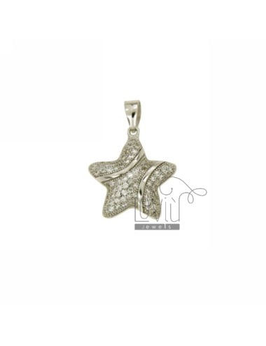 CHARM STAR DOME 18X17 MM IN AG TIT 925 ‰ AND ZIRCONIA