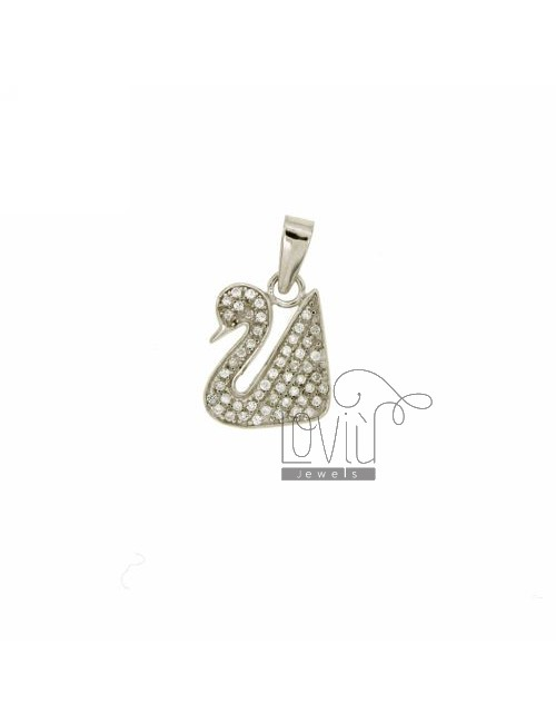 SWAN PENDANT 15X12 MM IN AG TIT 925 ‰ AND ZIRCONIA