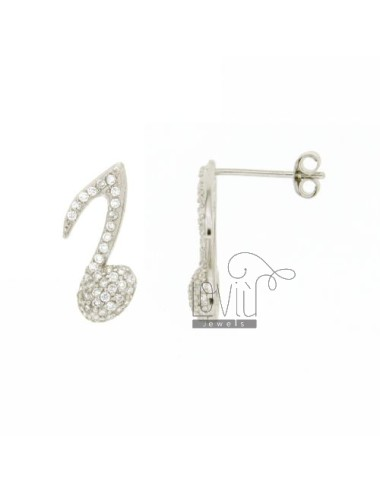 A MUSICAL NOTE Earrings 16x7 MM LOBO WITH PAVE &39OF ZIRCONIA IN RHODIUM AG TIT 925