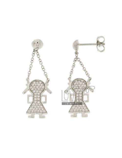 GIRL WITH EARRINGS PENDANT PAVE &39OF ZIRCONIA IN RHODIUM AG TIT 925 ‰