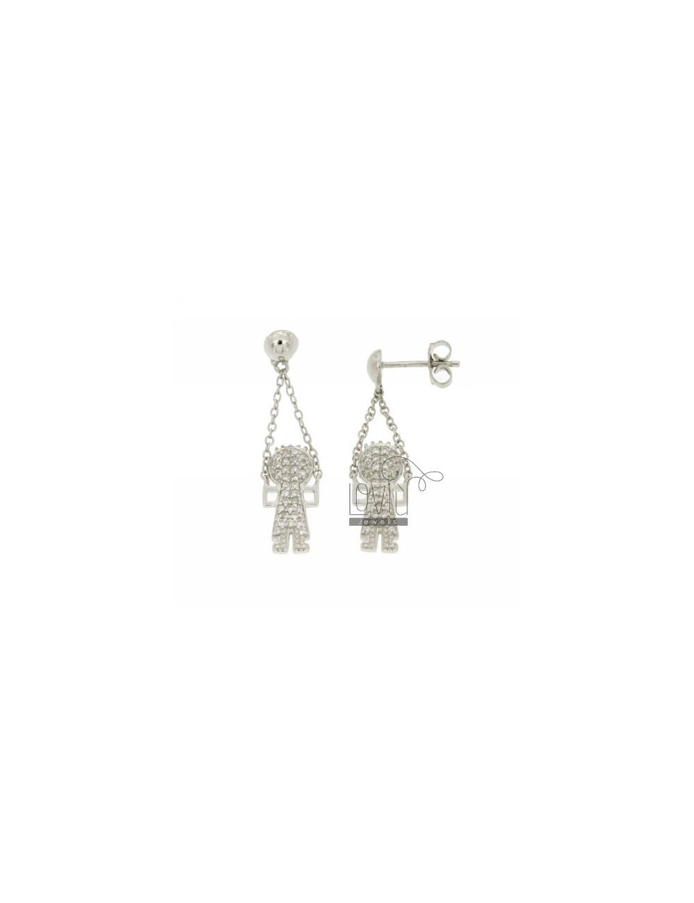 BOY WITH EARRINGS PENDANT PAVE &39OF ZIRCONIA IN RHODIUM AG TIT 925 ‰