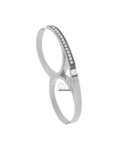 RING TWO FINGERS IN RHODIUM AG 925 TIT AND ZIRCONIA SIZE ADJUSTABLE