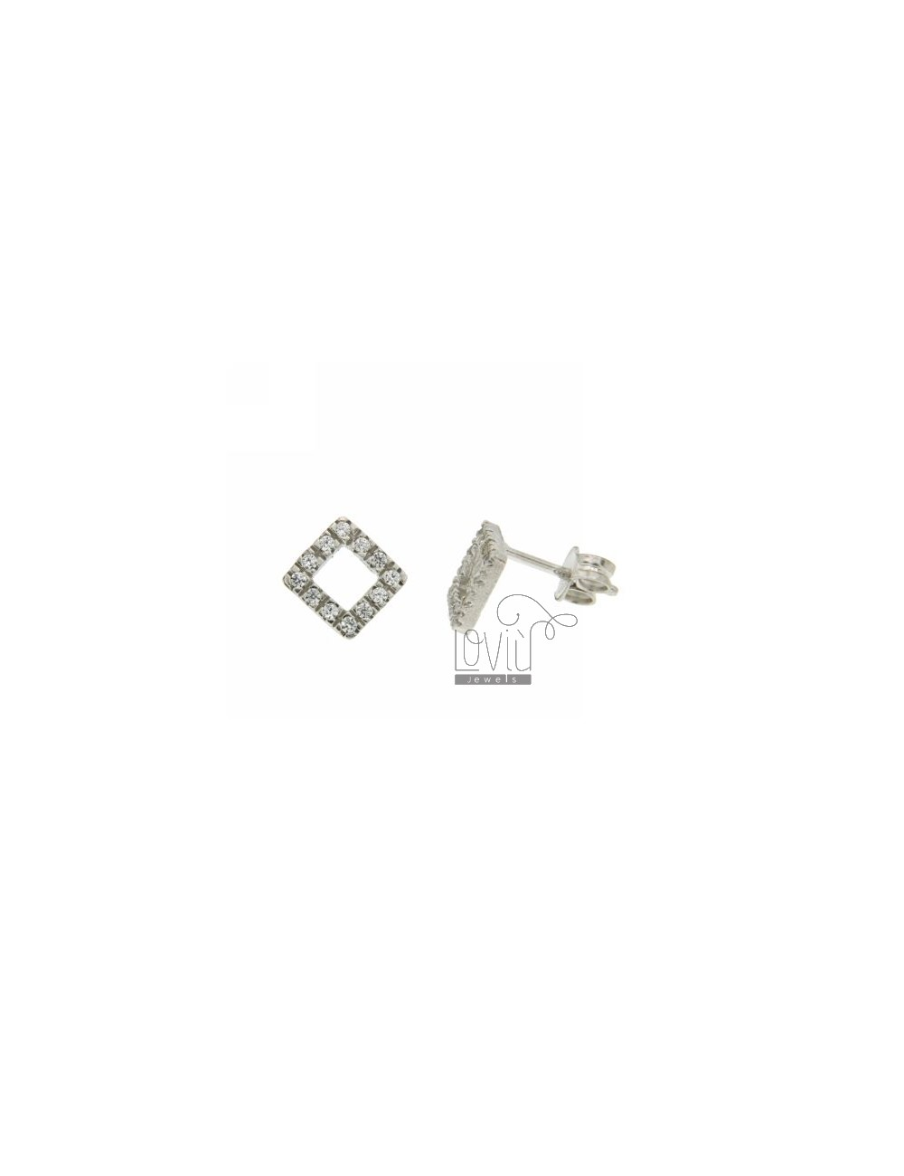 A SQUARE PIERCED EARRINGS WITH CUBIC ZIRCONIA IN LOBO AG RHODIUM TIT 925