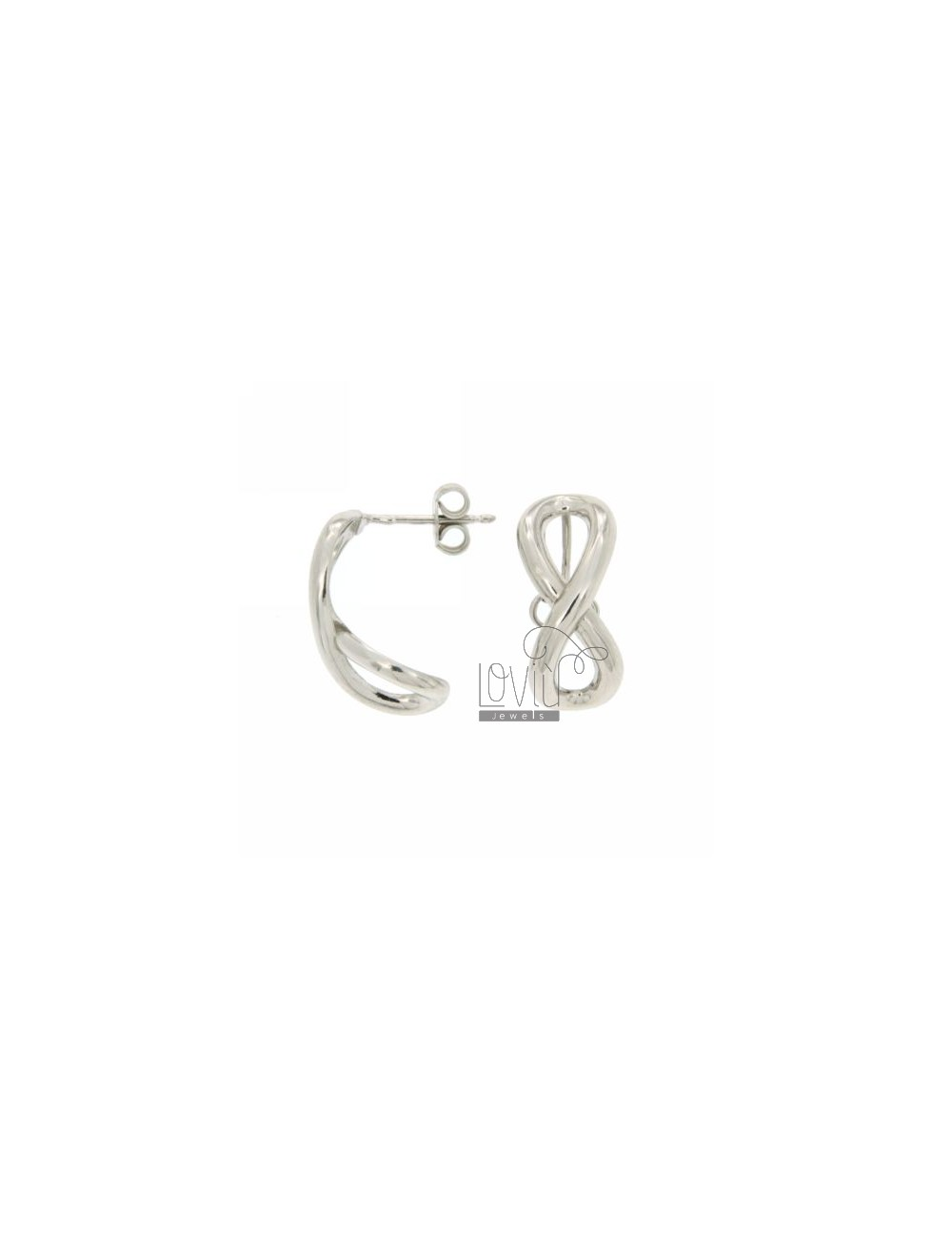 INFINITE STUD EARRING WITH CONCAVE SILVER RHODIUM 925 ‰