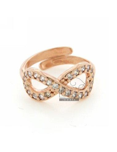 INFINITE A RING SIZE ADJUSTABLE WITH ZIRCONIA SILVER COPPER 925 ‰