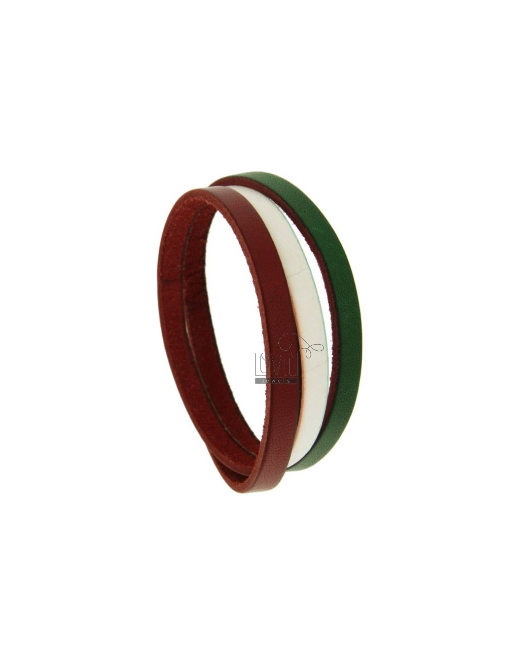 BRACELET IN LEATHER TRICOLORE GREEN WHITE AND RED METAL WITH CLOSURE