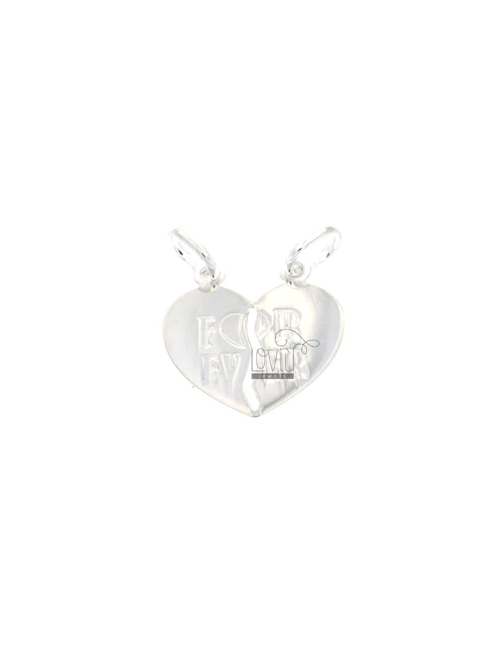 PENDANT HEART DIVIDED BY WRITTEN FOR EVER ENGRAVED SILVER 925 ‰