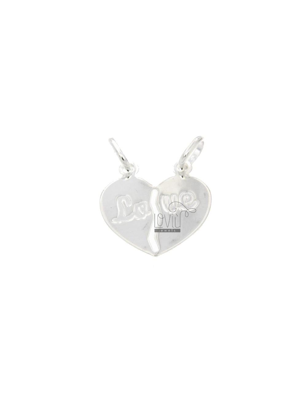 PENDANT HEART DIVIDED WITH LOVE WRITTEN INCISA SILVER 925 ‰