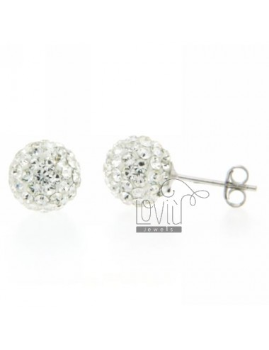 10 MM SPHERE EARRINGS WITH PAVE 'OF STRASS IN RHODIUM SILVER 925 ‰