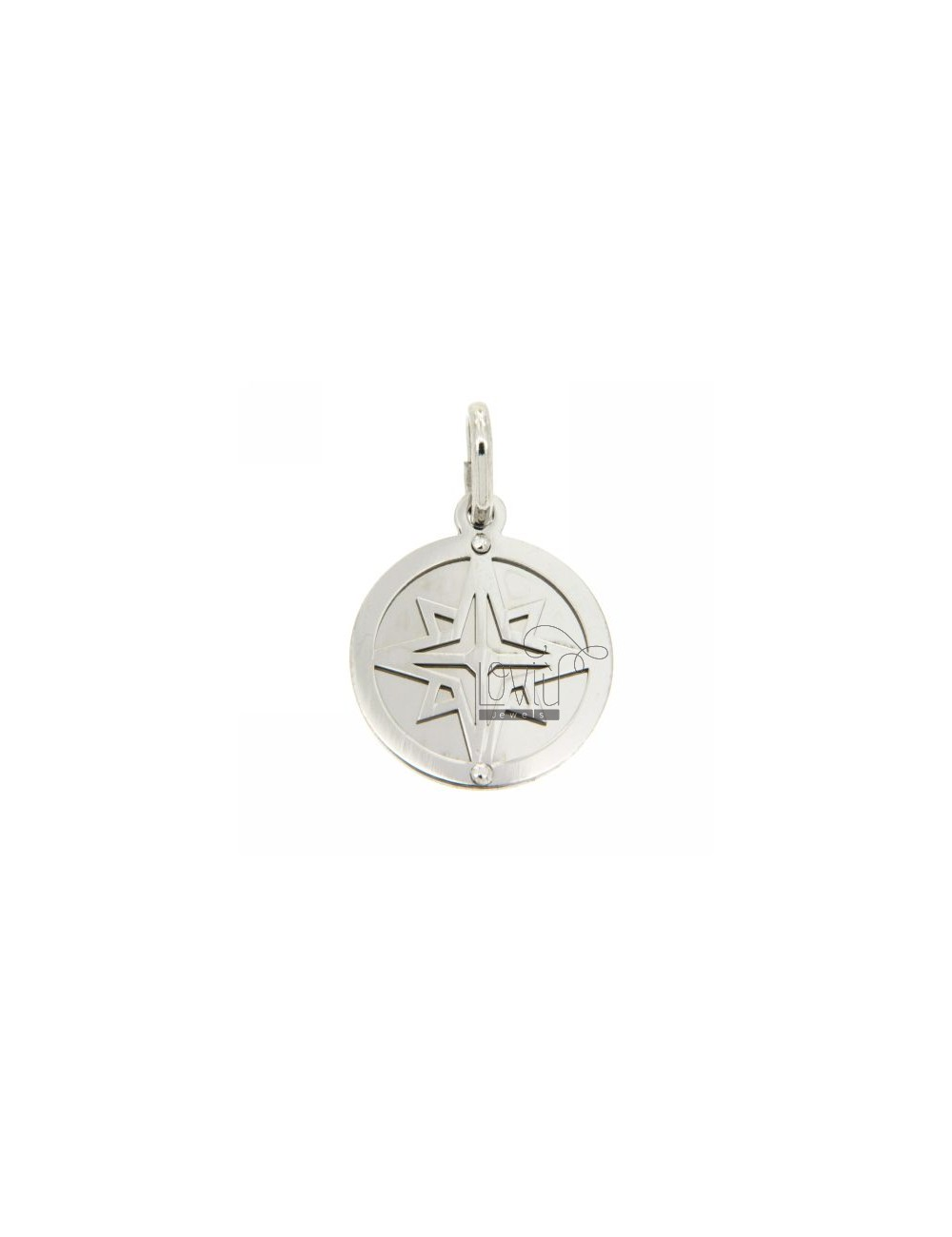 ROUND PENDANT WITH WIND ROSE RHODIUM SILVER 925