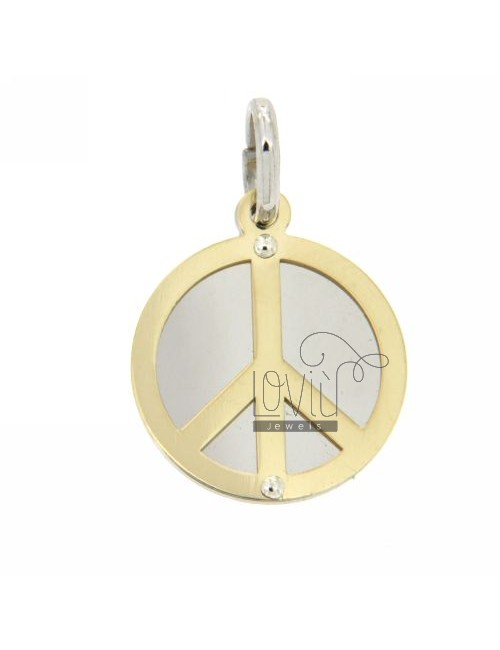 PEACE SYMBOL PENDANT ROUND WITH GOLD PLATED SILVER 925