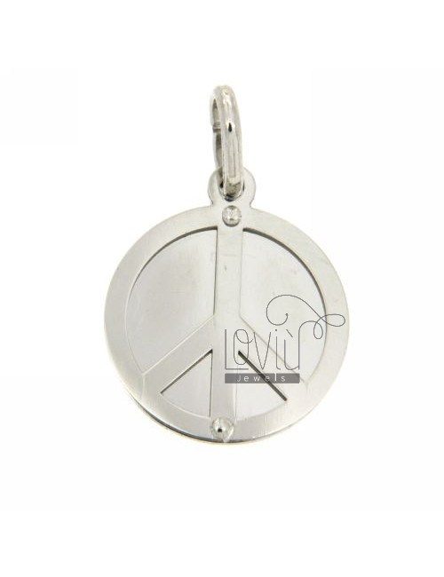 PEACE SYMBOL PENDANT ROUND WITH RHODIUM SILVER 925