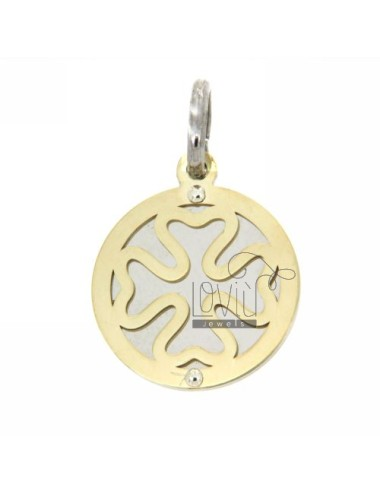 ROUND FOUR.LEAF CLOVER WITH GOLD PLATED PENDANT SILVER 925
