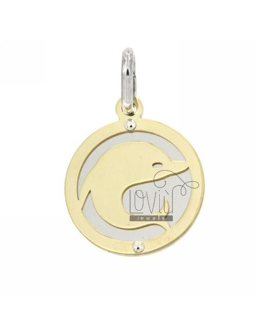 ROUND EARRINGS WITH DOLPHIN GOLD PLATED SILVER 925