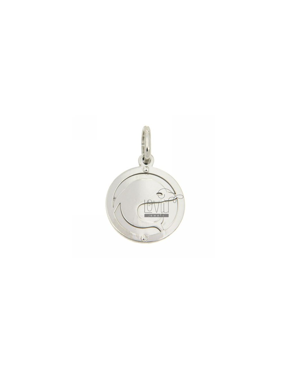 ROUND PENDANT WITH RHODIUM SILVER DOLPHIN 925