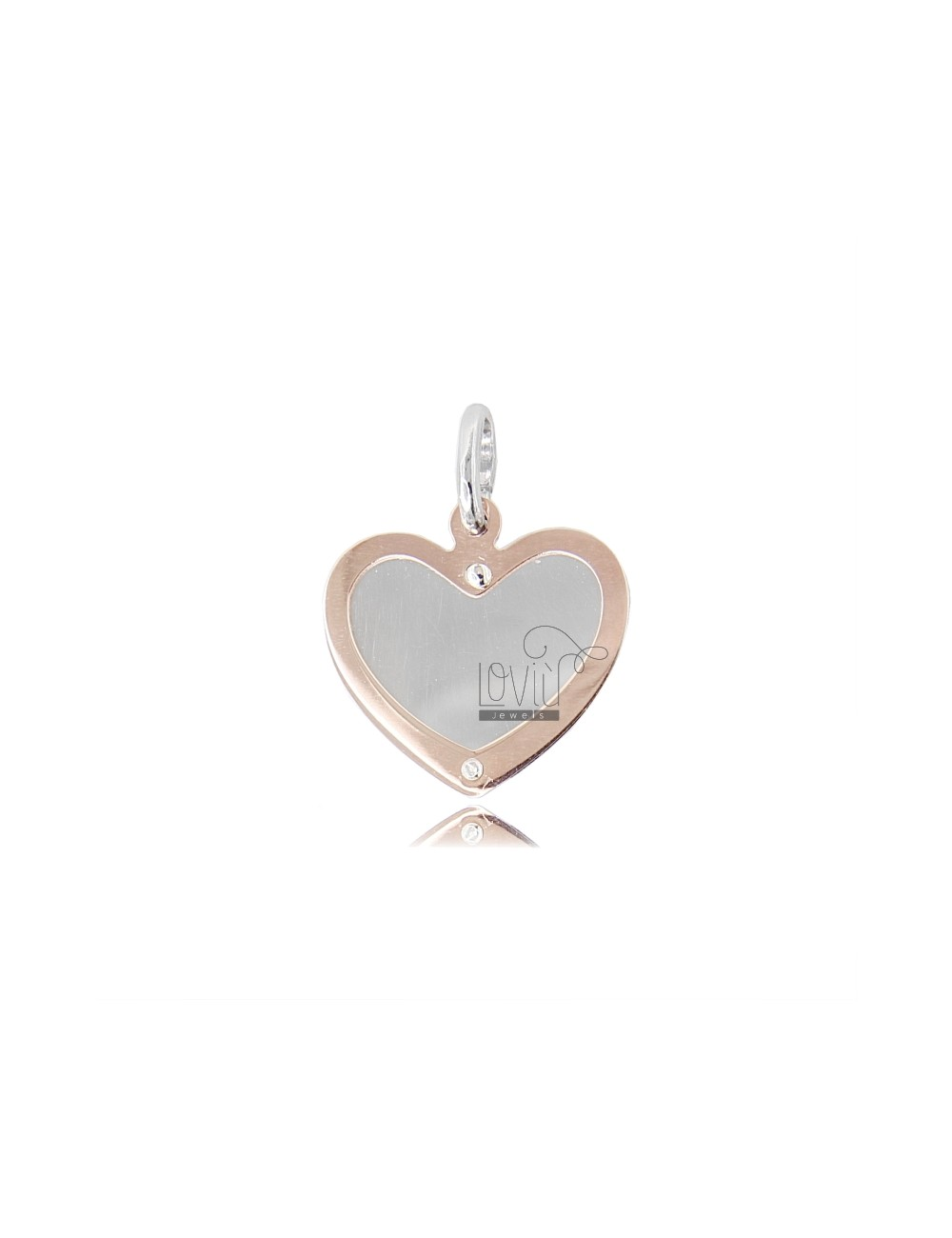 HEART HEART PENDANT WITH ROSE GOLD PLATED SILVER 925