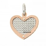 HEART NECKLACE WITH HEART GOLD PLATED PINK DIAMOND AND INSIDE SILVER 925