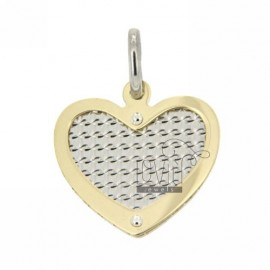 HEART NECKLACE WITH HEART GOLD PLATED SILVER DIAMOND AND INTERNAL 925