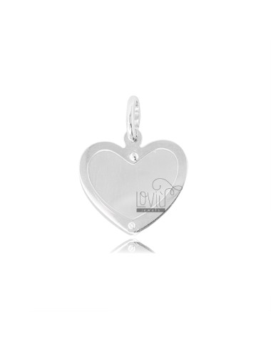 HEART HEART PENDANT WITH RHODIUM SILVER 925