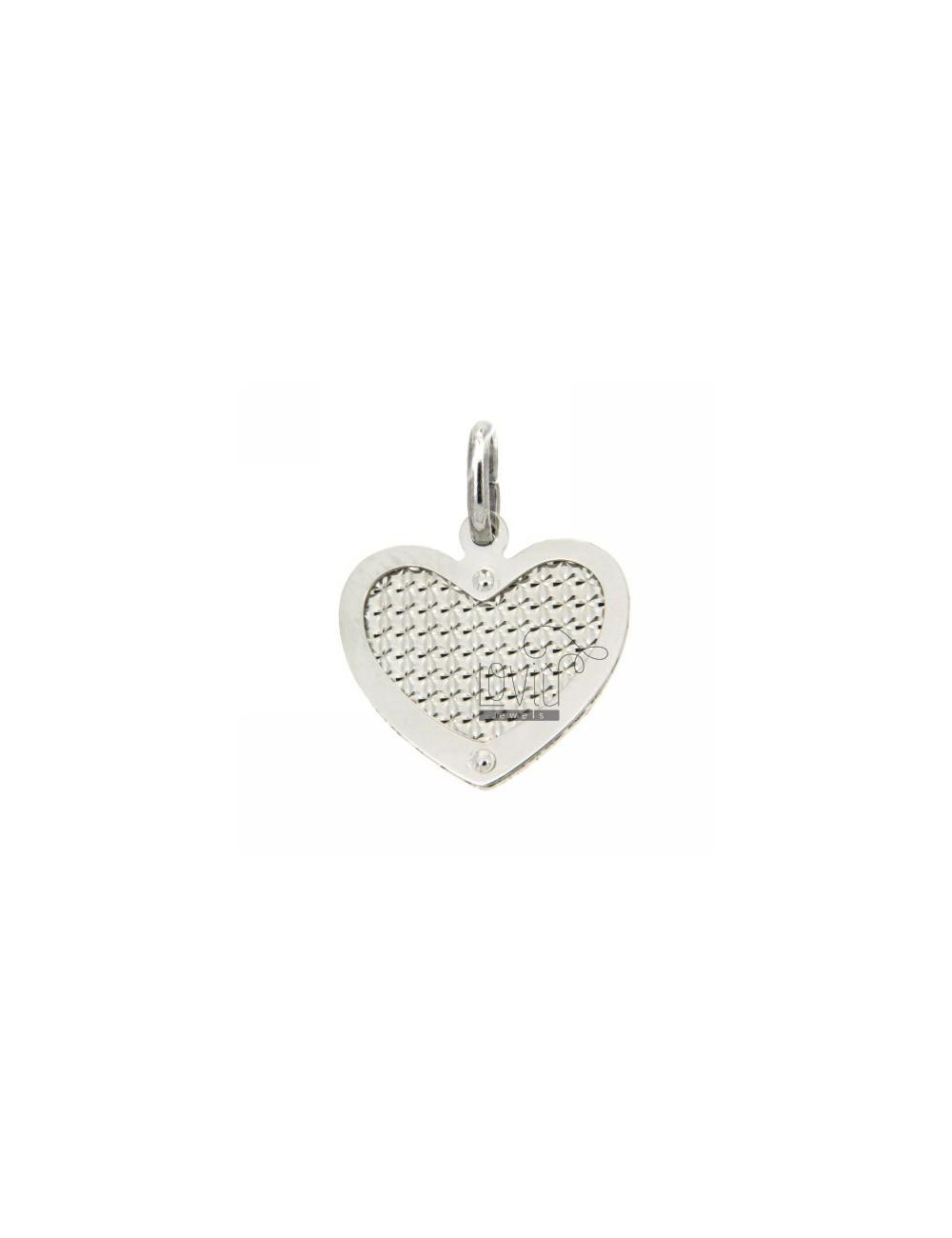 HEART HEART PENDANT WITH RHODIUM SILVER DIAMOND AND INTERNAL 925
