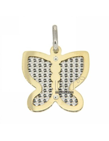 BUTTERFLY BUTTERFLY GOLD PLATED PENDANT WITH INTERNAL AND DIAMOND SILVER 925