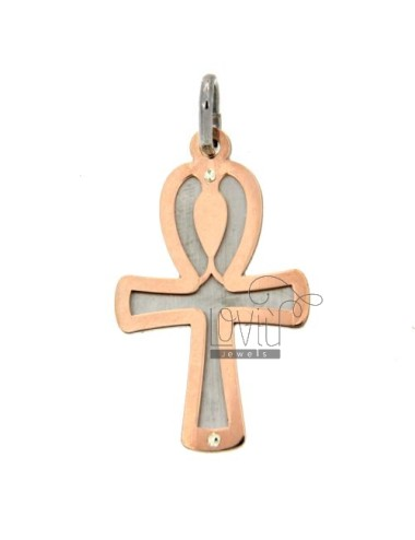 ROSE GOLD PLATED CROSS PENDANT SILVER 925