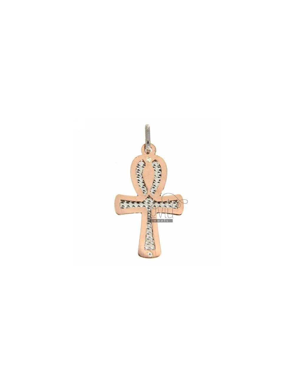 CROSS PENDANT GOLD PLATED PINK DIAMOND IN SILVER WITH INTERNAL 925