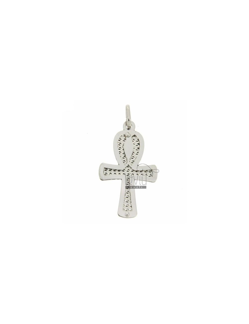 INSIDE DIAMOND CROSS PENDANT WITH RHODIUM SILVER 925