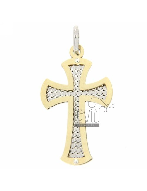 CROSS PENDANT GOLD PLATED SILVER DIAMOND WITH INTERNAL 925