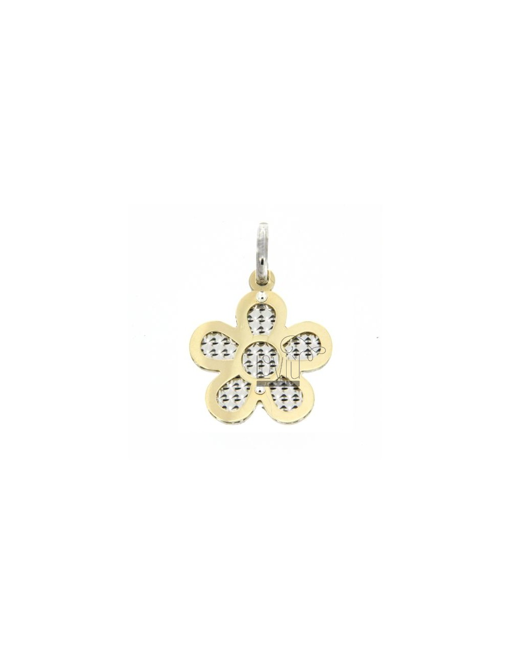 FLOWER PENDANT GOLD PLATED SILVER DIAMOND WITH INTERNAL 925