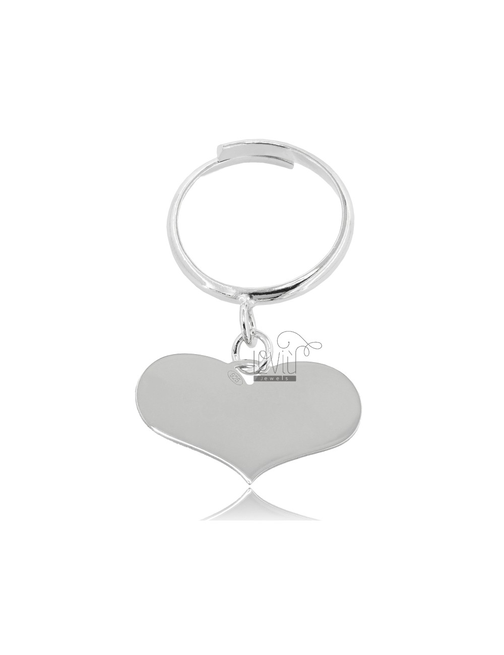 RING HEART PENDANT WITH ADJUSTABLE BASE IN SILVER RHODIUM 925