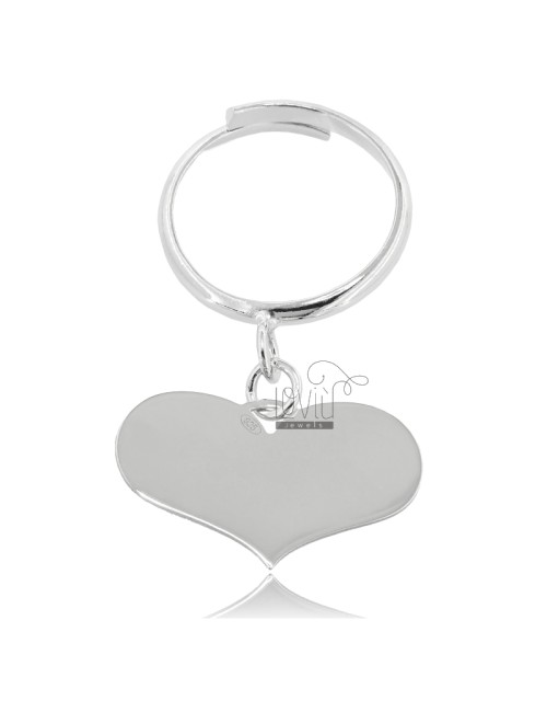 HEART RING PENDANT MM 14,5X23,5 WITH ADJUSTABLE BASE IN RHODIUM SILVER 925 ‰