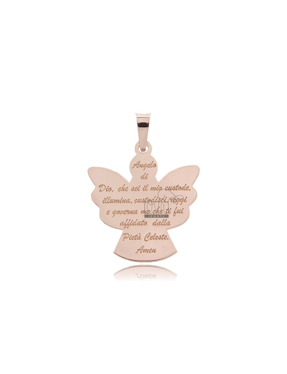 CHARM ANGEL PRAYER A PLATE 27X25 MM GOLD PLATED ROSE AG TIT 925 ‰