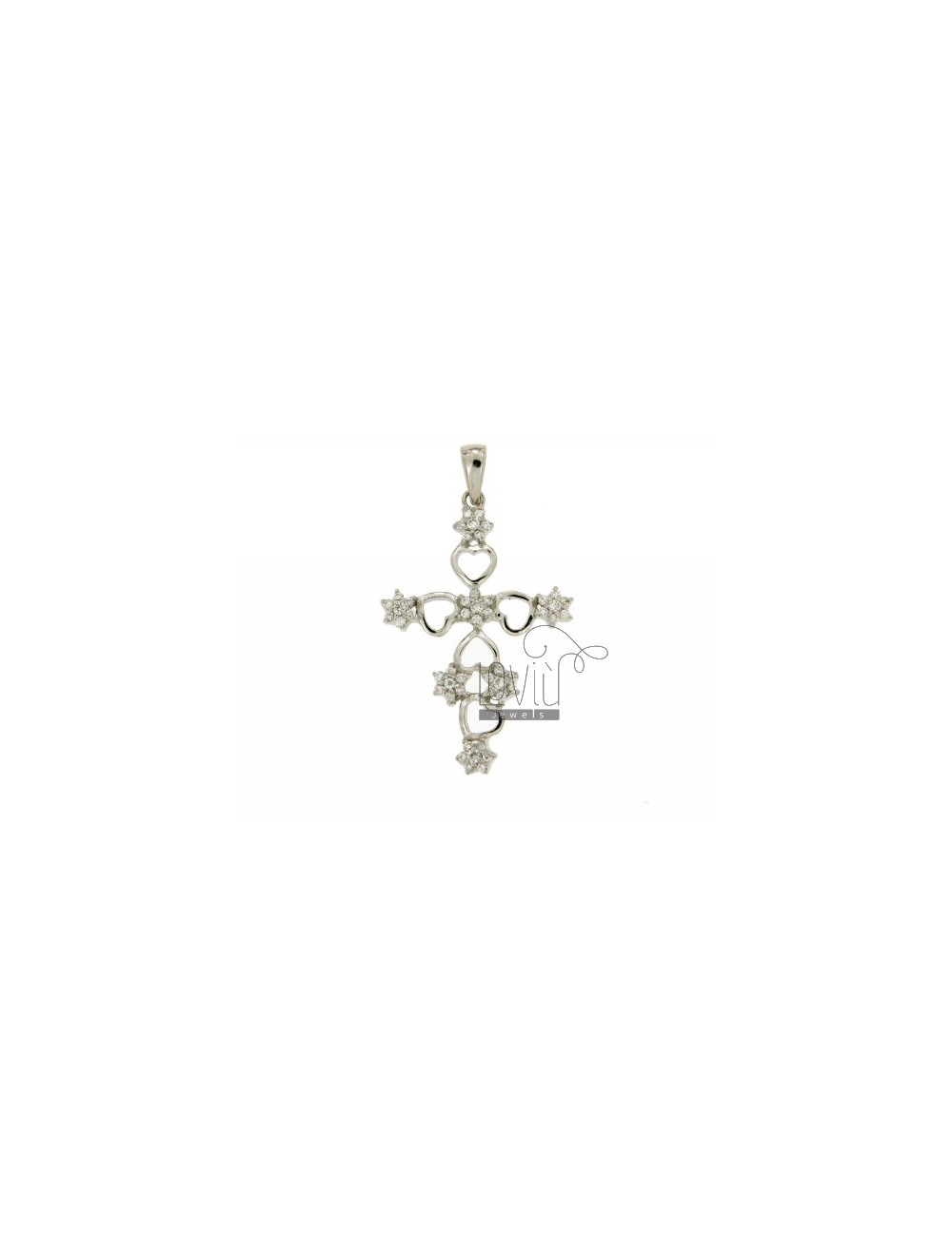 42X28 MM CROSS PENDANT WITH FLOWERS OF ZIRCONIA IN RHODIUM AG TIT 925 ‰