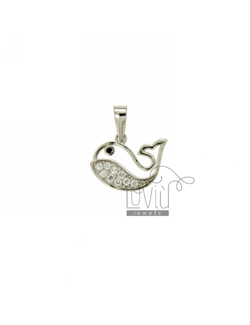 PENDANT WHALE 10X13 MM IN AG TIT 925 ‰ AND ZIRCONIA