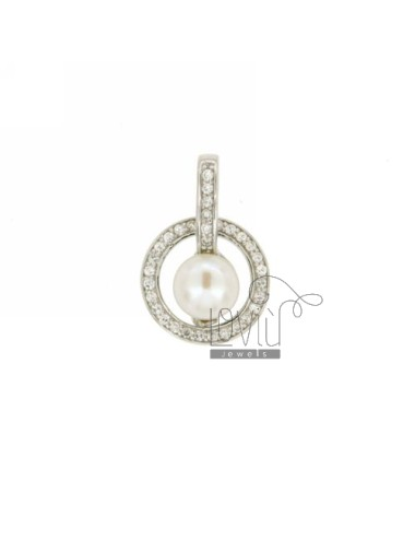 AG RHODIUM NECKLACE ROUND TIT 925 ‰ ZIRCONIA AND PEARL MM 7