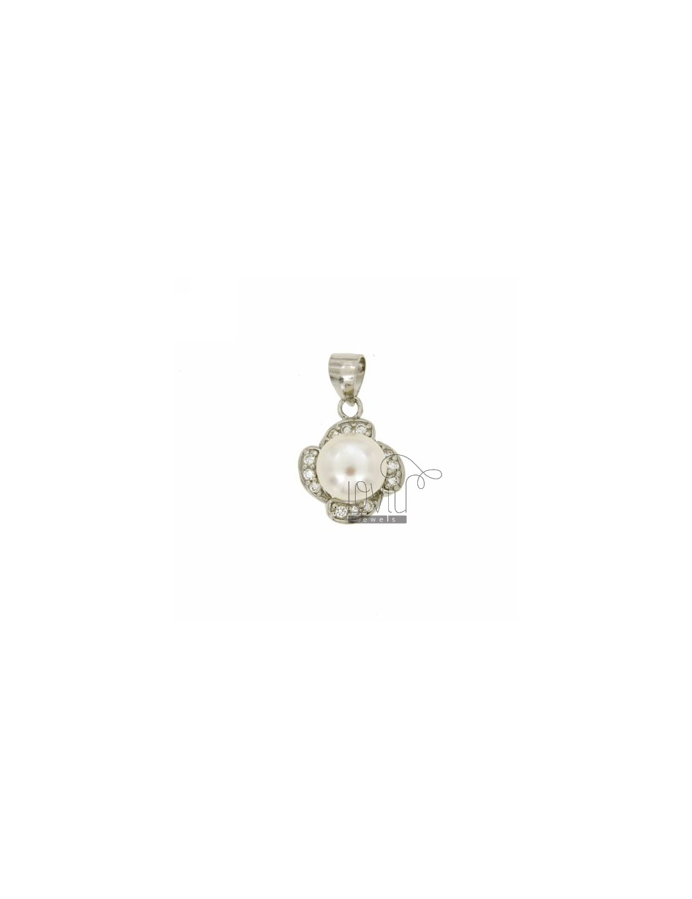 FLOWER PENDANT IN TIT AG 925 ‰ ZIRCONIA AND PEARL MM 9