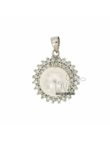 PENDANT ROUND TIT AG 925 ‰ ZIRCONIA AND PEARL MM 12