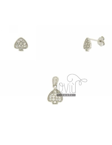Earrings and Pendant SPADES IN AG TIT 925 ‰ AND ZIRCONIA