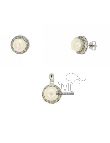 And Earrings PEARL NECKLACE ROUND 9 MM WITH ZIRCONIA SILVER TIT 925 ‰