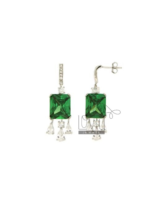 EARRINGS AND PENDANT SQUARE IN AG TIT 92.5 ‰ AND ZIRCONIA WHITE AND GREEN