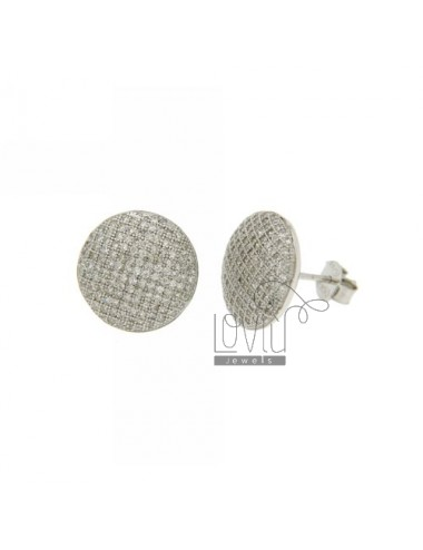 LOBO EARRINGS WITH 14 MM ROUND MICRO PAVE &39AG OF ZIRCONIA IN RHODIUM AND TIT 925