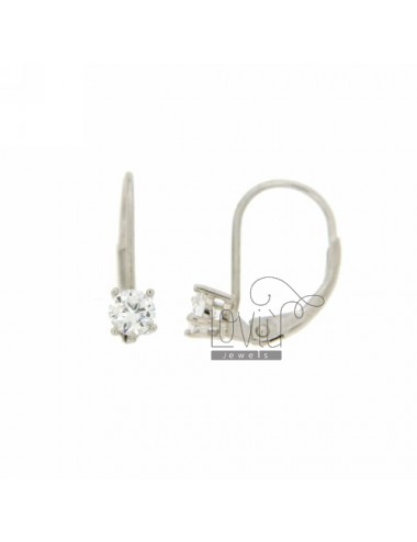 SOLITAIRE EARRINGS WITH ZIRCON MM 4 A nun AG IN RHODIUM TIT 925 ‰