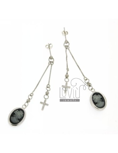 CAMEO EARRINGS AND CROSS OF ZIRCONIA SILVER 925