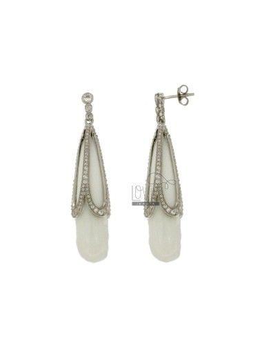 Earrings DROP IN AG TIT 92.5 ‰, AGATA AND WHITE ZIRCONIA