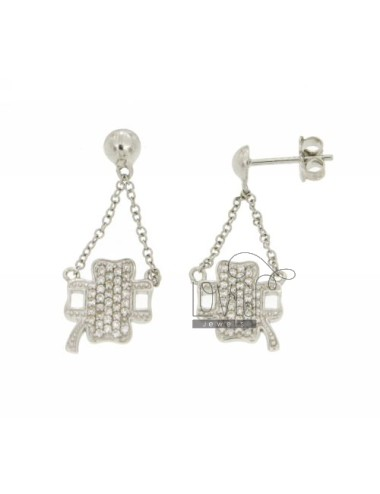 FOUR LEAF CLOVER EARRINGS WITH PAVE &39OF ZIRCONIA IN RHODIUM AG TIT 925 ‰