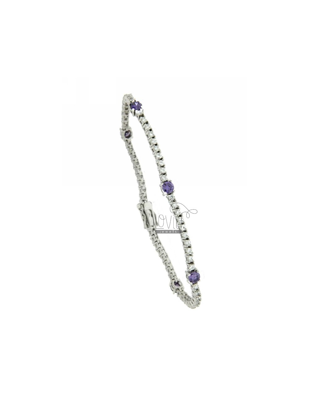 TENNIS BRACELET IN TIT AG 925 AND ZIRCONIA WHITE AND PURPLE