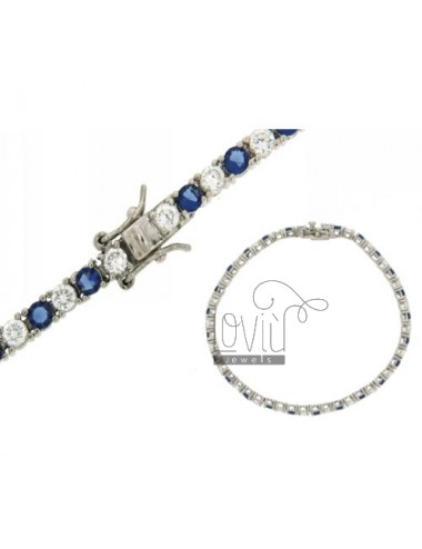 TENNIS BRACELET IN SILVER RHODIUM 925 MM 3 ‰ AND ZIRCONIA WHITE AND BLUE