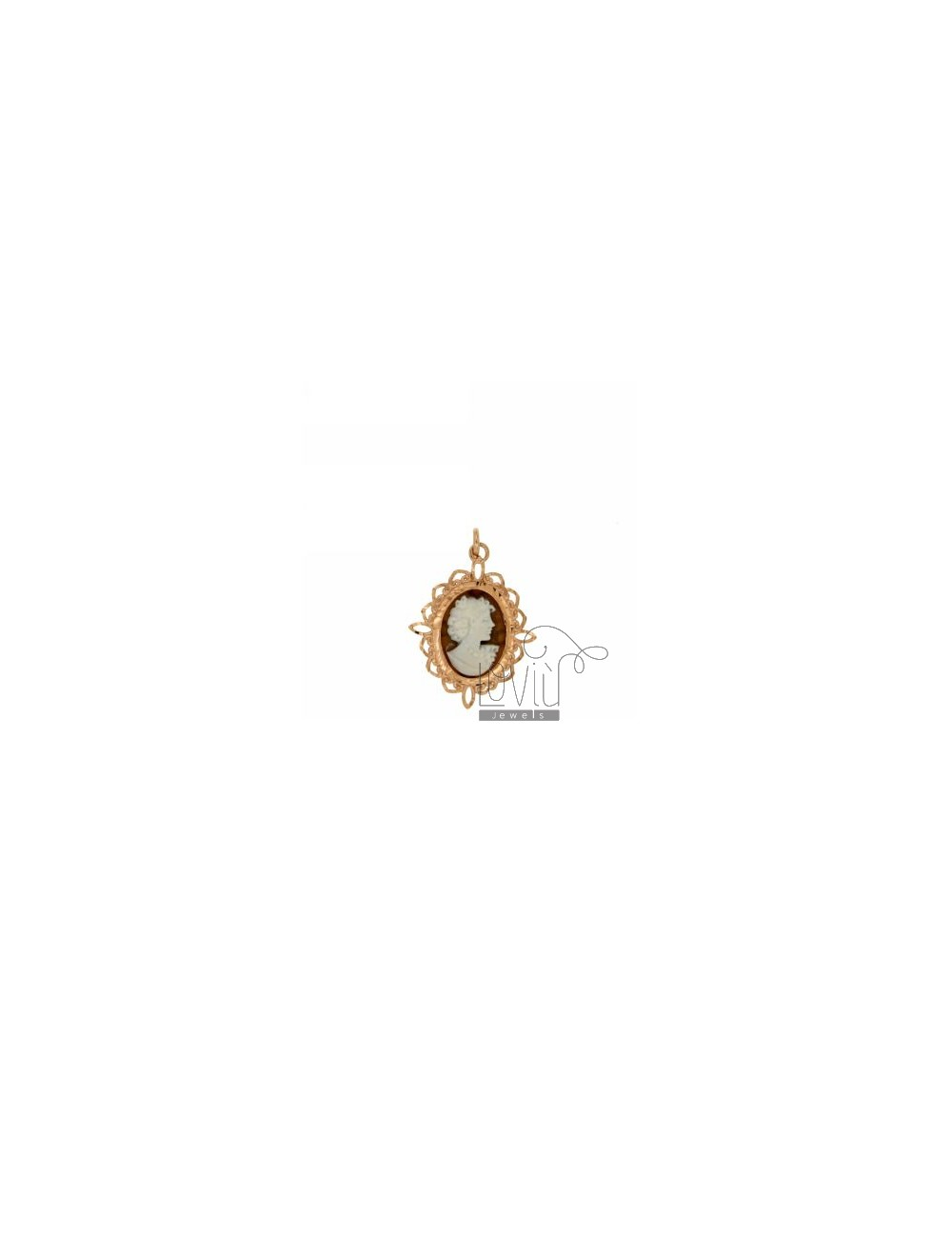 CAMEO OVAL PENDANT LADY IN PINK GOLD PLATED AG TIT 925
