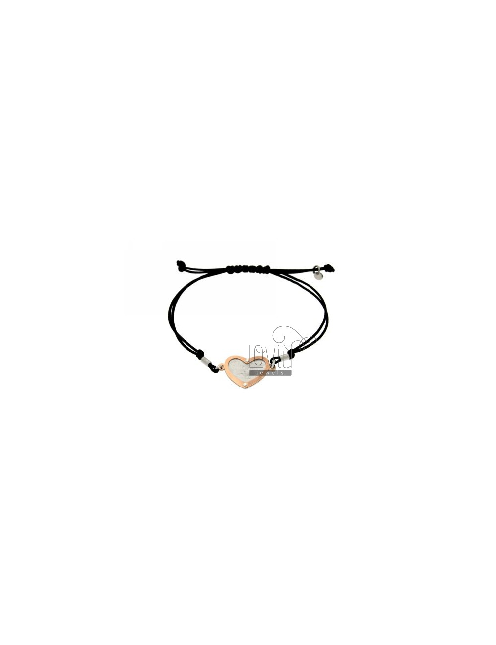 CORD NECKLACE AND BRACELET WITH HEART SHAPED ROSE GOLD PLATED SILVER 925